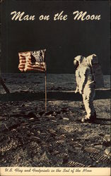 U.S. Flag and Footprints in the Soil of the Moon