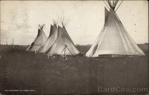 Four Tepees & campfire Native Americana