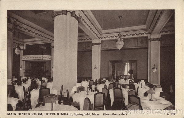 Main Dining Room, Hotel Kimball Springfield Massachusetts