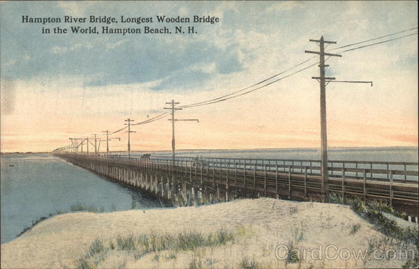 Hampton River Bridge, Longest Wooden Bridge in the World Hampton Beach New Hampshire