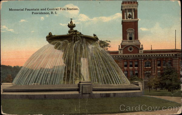 Memorial Fountain and Central Fire Station Providence Rhode Island