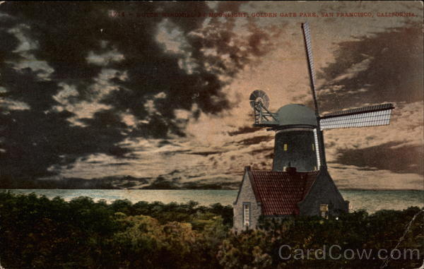 Dutch Windmill by Moonlight, Golden Gate Park San Francisco California
