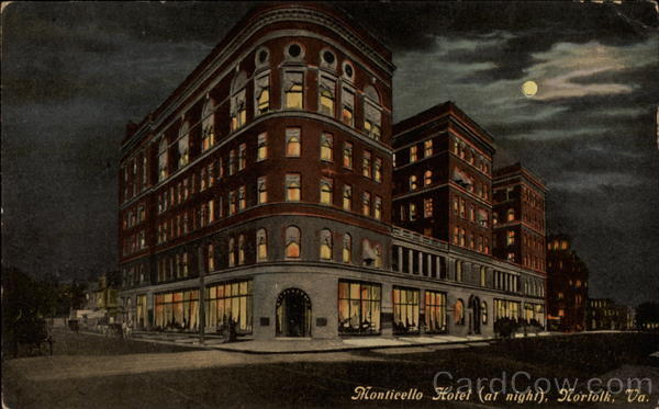Monticello Hotel at Night Norfolk Virginia