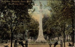 Confederate Monument, Travis Park Postcard