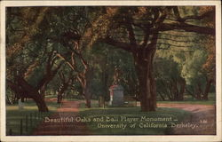 Beautiful Oaks and Ball Player Monument, University of California