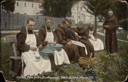 Shelling peas for the noonday meal, Santa Barbara Mission Postcard