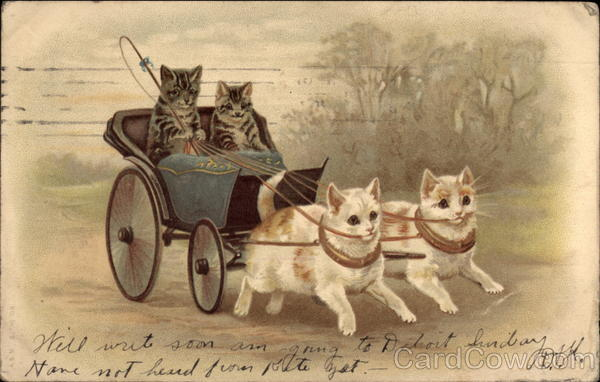 Two Striped Cats in Carriage Drawn by Two White Cats