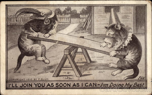 Cats in Hats on a See Saw