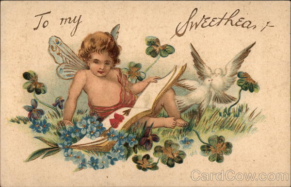 To My Sweetheart, with Cupid and Doves Old Postcard