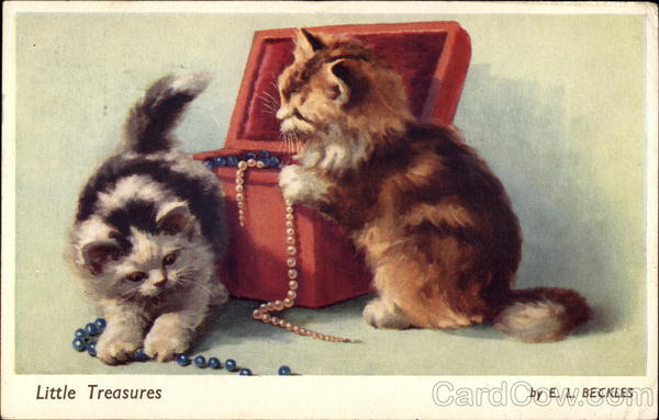 Two Kittens in Jewelry Box E.L. Beckles Cats