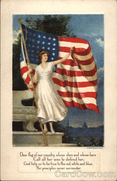 Lady in White Unfurls the Flag of our Country Flags