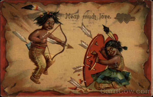 Indian Child Shooting Arrow at Indian Girl Native Americana