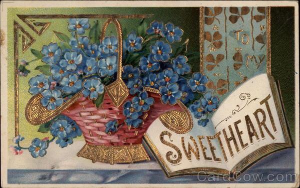 Basket of Blue Flowers Greetings