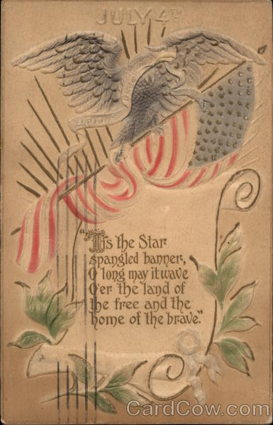 July 4th, with Flag, Eagle, and Scroll 4th of July