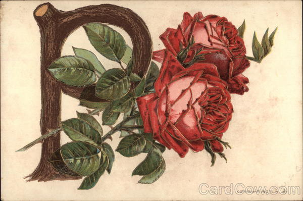 Roses Entertwined with a P Alphabet Letters