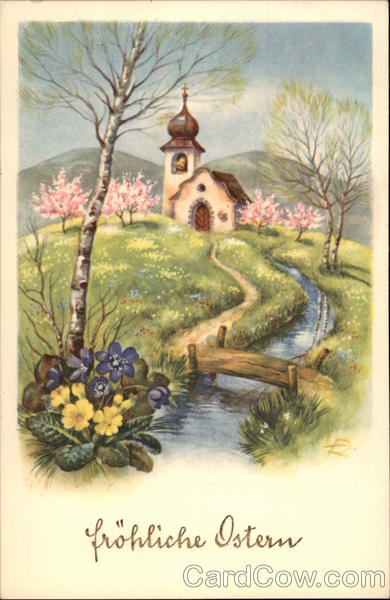 Church and Spring Rural Scene Greetings