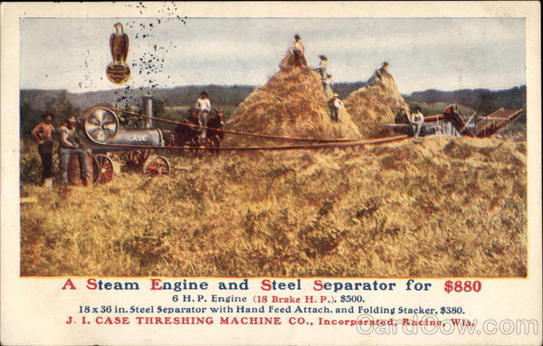 Case Steam Engine and Steel Separator Advertising