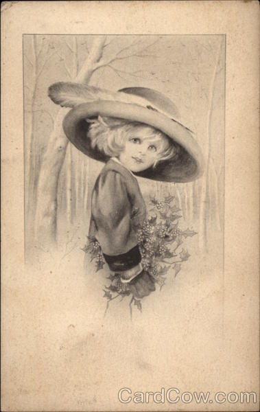 Girl In Hat Carrying Holly Girls