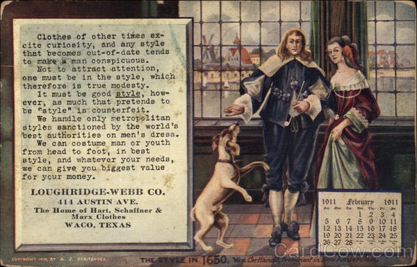 Man, Woman and a Dog Advertising Calendars