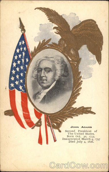 Portrait of John Adams and American Flag Presidents