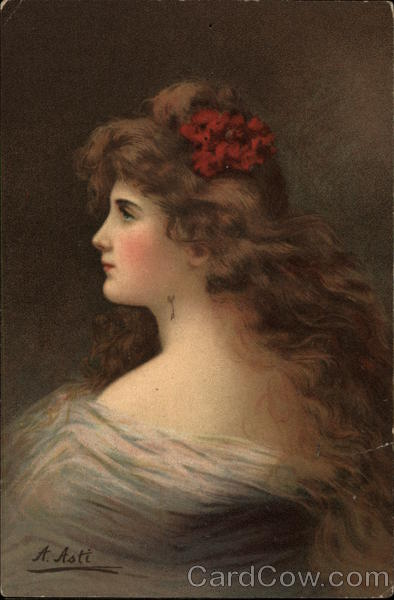 Portrait of Woman with Red Flower in Hair A. Asti Women