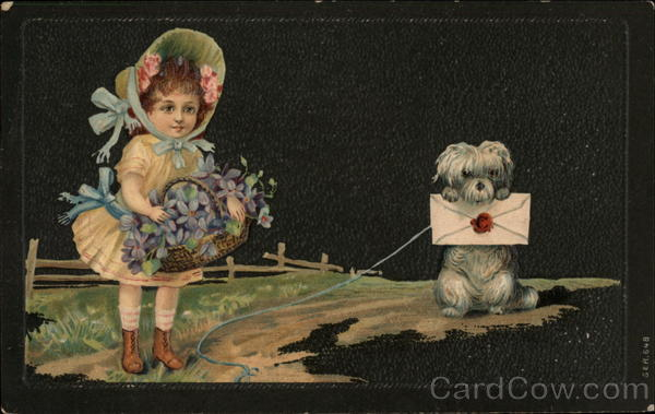 Girl and Dog with Flowers and Letter Girls