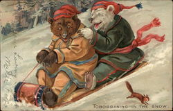Tobogganing in the snow