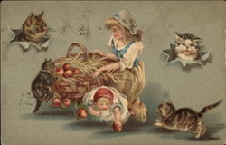 Children Picking apples Surrounded by Cats