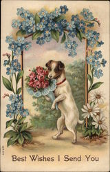 Dog Holding a Bouquet of Flowers