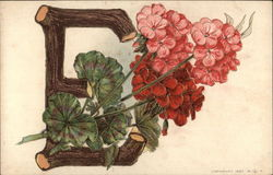 "Large Letter ""E"" with Geraniums"