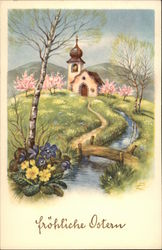 Church and Spring Rural Scene