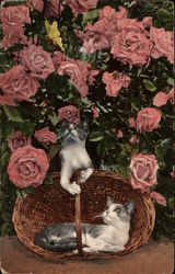 Cats in Basket Under Rose Bush
