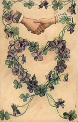 Heart of Violets and Hand Shake Postcard