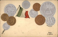 Various Mexican Coins and Flag