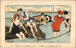Women and Men Bathing