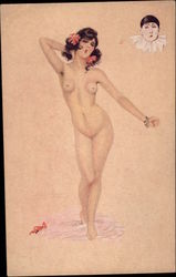 Nude Woman and Clown Face Postcard
