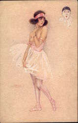 Topless French Ballerina Postcard