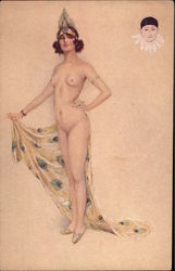 Nude Woman With a Peacock Feather Headdress Postcard