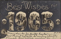 Best Wishes for 1905 Postcard
