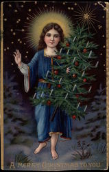 Child With Halo Carrying a Christmas Tree