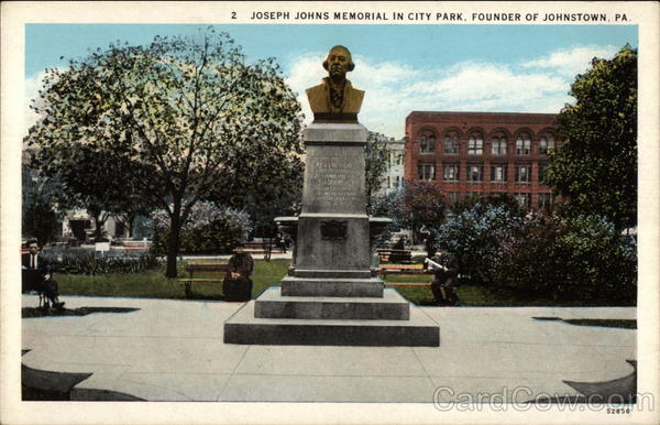 Joseph Johns Memorial in City Park, Founder of Johnstown Pennsylvania