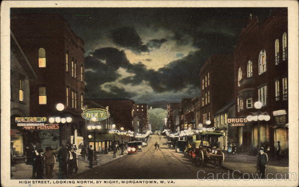 High Street, Looking North by night Morgantown West Virginia