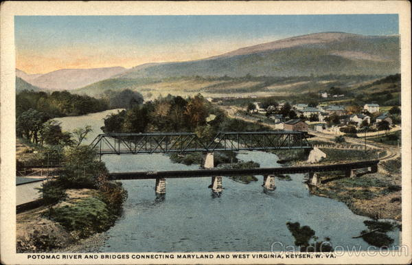 Potomac River and Bridges Connecting Maryland and West Virginia Keyser