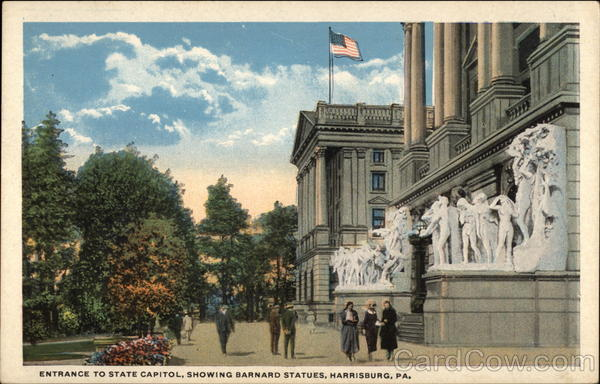 Entrance to State Capitol, Showing Barnard Statues Harrisburg Pennsylvania