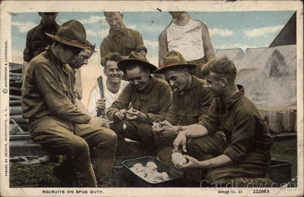 Recruits on Spud Duty World War I