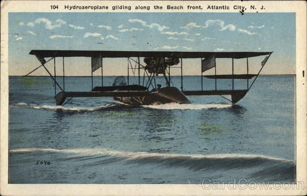 Hydroaeroplane gliding along the beach front Atlantic City New Jersey