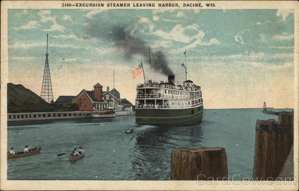 Excursion Steamer leaving Harbor Racine Wisconsin