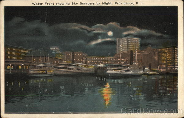 Water Front showing Sky Scrapers by NIght Providence Rhode Island