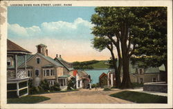 Looking Down Main Street in Lubec Postcard
