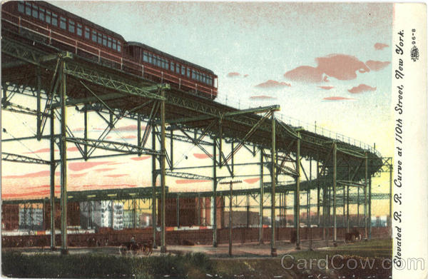 Elevated R. R. Curve, 110th Street New York City Trains, Railroad